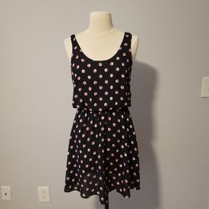Lush Women's Navy with Pink & White Polka Dots